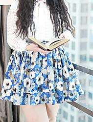 Damen Übergrössen Röcke,A-Linie DruckLässig/Alltäglich Einfach Hohe Hüfthöhe Über dem Knie Elastizität Polyester Micro-elastisch Sommer