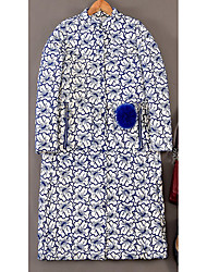 Women's Regular Down Coat,Simple Casual/Daily Solid-Polyester White Duck Down Long Sleeve Blue / Black