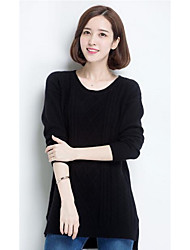 Women's Casual/Daily Simple Regular Pullover,Solid Pink / Black / Gray Round Neck Long Sleeve Cashmere Fall / Winter Medium Micro-elastic