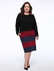 Tee Shirt Robe Femme Décontracté / Quotidien simple,Couleur Pleine Col Arrondi Mi-long Manches Longues Noir Coton Taille Normale