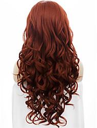 perruques de dentelle synthétique à longue vague avant de qualité 26''high imstyle belle auburn populaire pour la fête