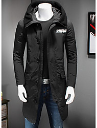 Men's Long Down Coat,Simple Going out / Casual/Daily Solid-Polyester Polyester / White Duck Down Long Sleeve Stand Black