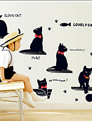 Animals Wall Stickers Love Black Kitten