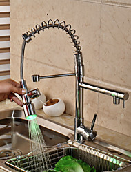 Contemporary Brass Chrome Spring RGB LED Kitchen Sink Faucet - Silver