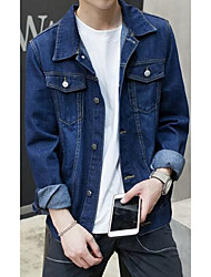 Men's Going out / Casual/Daily Simple Denim Jackets,Solid Shirt Collar Long Sleeve Spring Blue Polyester Medium