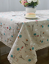 Square Patterned / Patchwork Table Cloth , Linen Material Hotel Dining Table / Table Decoration