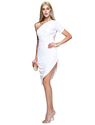 TS Couture® Prom  Cocktail Party Dress Sheath / Column One Shoulder Knee-length Matte Satin with Side Draping