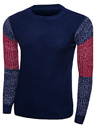 Men's Casual Slim Hit Color Sleeves Knitted Pullovers Color Block Blue / Red / Beige Round Neck Long Sleeve Wool Winter / Autumn Medium Micro-elastic