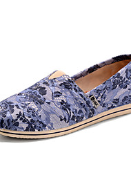 Women's Spring Fall Round Toe Canvas Casual Flat Heel Slip-on Blue