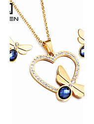 Kalen Colorful Women Jewelry Set Stainless Steel 18K Italian Gold Plated Heart Necklace And Earrings Sets Cheap Accessory Gifts