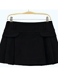 Damen Röcke,A-Linie einfarbigAusgehen / Lässig/Alltäglich Niedlich Mittlere Hüfthöhe Über dem Knie Kordelzug Polyester / Wolle