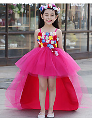 Princess Asymmetrical Flower Girl Dress - Organza Sleeveless Straps with Flower(s)