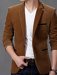 Men's Work Party/Cocktail Simple Fall Winter Blazer,Solid V Neck Long Sleeve Regular Cotton