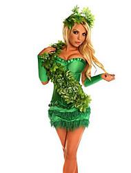 Festival/Celebração Trajes da Noite das Bruxas Verde Cor Única Saia / Decoração de Cabelo Natal Feminino