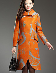 Women's Going out / Party/Cocktail Street chic / Sophisticated Trench Coat,Patchwork Shirt Collar Long Sleeve All Seasons Multi-color