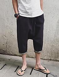 Hommes Droite Shorts Pantalon,simple Décontracté / Quotidien Couleur Pleine Taille Normale Cordon lin Micro-élastique Eté