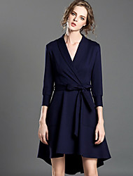 INPLUS LADY Women's Casual/Daily Simple Sheath DressSolid Shirt Collar Asymmetrical  Sleeve Blue Cotton / Nylon / Spandex Fall Mid Rise Inelastic