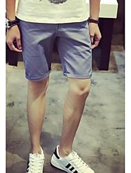 Masculino Reto Chinos Calças-Cor Única Casual Simples Cintura Média Zíper Algodão Inelástico Verão