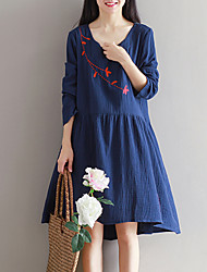 Women's Slim chic A Line Dress Embroidered Round Neck Asymmetrical Long Sleeve Blue / Red Cotton / Linen Spring Mid Rise