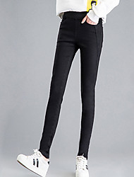 Women's Skinny Jeans Pants,Casual/Daily Simple Solid High Rise Zipper Linen Stretchy Winter