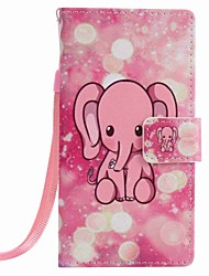 For Huawei P9 lite P8 lite Pink Elephant Painting PU Phone Case