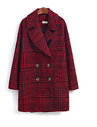 Women's Casual/Daily Simple Coat,Striped Long Sleeve Red Wool