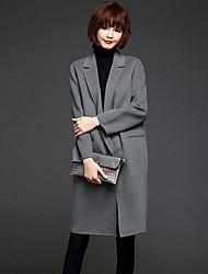 Women's Casual/Daily Simple Coat,Solid Long Sleeve Fall / Winter Red / Black / Gray Wool Medium
