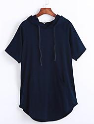 Damen Solide Einfach Lässig/Alltäglich T-shirt,Mit Kapuze Sommer Kurzarm Blau Baumwolle Mittel