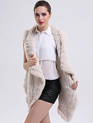 Feminino Casaco de Pêlo Casual Sofisticado Inverno,Sólido Bege / Cinza Pêlo de Coelho Colarinho de Camisa-Sem Manga