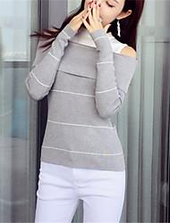 Damen Standard Pullover-Lässig/Alltäglich Einfach Solide Gestreift Schwarz Grau Bateau Langarm Polyester Herbst Winter Mittel