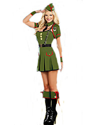 Cosplay Costumes Soldier/Warrior / Cosplay Movie Cosplay Green Solid Dress / Sleeves / Belt / Hat Halloween / Carnival Female Polyester