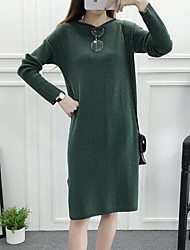 Women's Casual/Daily Simple Sweater Dress,Solid Boat Neck Knee-length Long Sleeve Red / Beige / Green Cashmere Fall Mid Rise Micro-elastic