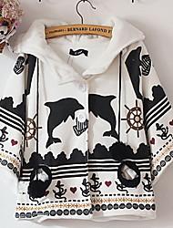 Damen Druck Einfach Lässig/Alltäglich Mantel / Capes,Winter Langarm Mehrfarbig Baumwolle