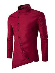 Мужчины На каждый день Весна / Осень Рубашка Рубашечный воротник,Простое Однотонный Синий / Красный / Белый / Черный Длинный рукав,Хлопок,