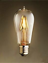 4w e26 / e27 ampoules à fil filé st58 4 smd 2835 300-350 lm chaud blanc décoratif ac 220-240 v 1 pcs