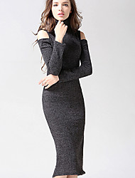 Women's Casual/Daily Simple Bodycon Dress,Solid Turtleneck Midi Long Sleeve Red / Black / Gray Cotton Fall / Winter Mid Rise Stretchy