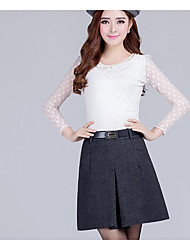 Women's Swing Solid Knitting Skirts,Going out / Casual/Daily / Party/Cocktail Sexy / Cute / Chinoiserie Mid Rise Knee-length Zipper Cotton