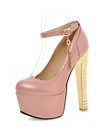 Women's Heels Spring Fall Leatherette Office & Career Casual Dress Chunky Heel Red Blue Blushing Pink