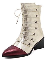 Damen-Stiefel-Kleid-Kunstleder-Blockabsatz-Plateau-Schwarz Gold