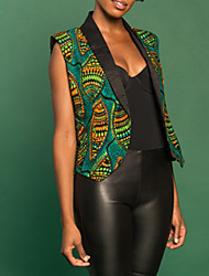 Women's Going out / Casual/Daily Simple Jackets,Print Shirt Collar Sleeveless Green Polyester Medium