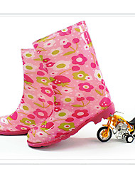 Girls' Boots Synthetic Spring Summer Fall Outdoor Rain Boots Flower Low Heel Blushing Pink Flat