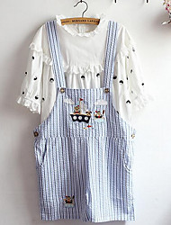 Women's Loose Overalls Pants,Casual/Daily Simple Striped Mid Rise Button Cotton Micro-elastic Summer