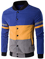 Men's Plus Size / Casual/Daily / Sports Simple / Active Jackets,Striped / Color Block Stand Long Sleeve Fall / WinterBlack / Orange /