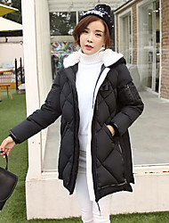 Women's Long Down Coat,Simple Casual/Daily Solid-Polyester White Goose Down Long Sleeve Black