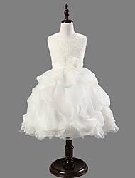 Ball Gown / Princess Knee-length Flower Girl Dress - Satin / Tulle Sleeveless Scoop with