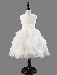 Robe de Soirée / Princesse Mi-long Robe de Demoiselle d'Honneur Fille - Satin / Tulle Sans Manches Décolleté avec