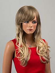 Glamour Celebrity Long Capless Wigs Natural Wave Human Hair with Full Bang Ombre Wigs