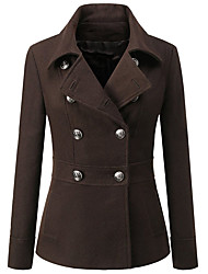 Women's Going out / Casual/Daily Cute Pea Coats,Solid / Patchwork Shirt Collar Long Sleeve Winter Red / Black / Brown Wool / Cotton Thick