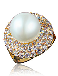 Women's Ring Pearl Costume Jewelry Gold Plated 18K gold Jewelry For Wedding Party Daily Casual