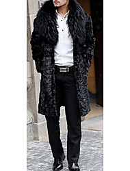 Men's Casual/Daily Simple Fur Coat,Solid Peter Pan Collar Long Sleeve Winter Black Faux Fur Medium